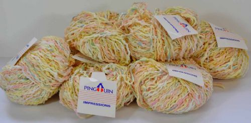 8 X 50g Pingouin chunky decorative space dyed cream yellow peach and lime tape yarn